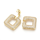 Brass Micro Pave Cubic Zirconia Fold Over Clasps(ZIRC-S058-01G)-3