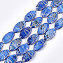 Freshwater Shell Beads Strands, Dyed and Drawbench, Oval, Royal Blue, 30~31x16~17x4mm, Hole: 0.8mm; 13pcs/strand, 15.5 inches