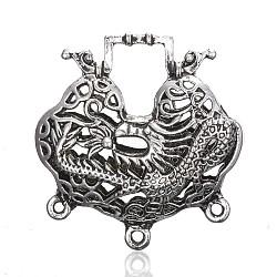 Liens de composant de lustre en alliage de style tibétain, serrure de longévité, argent antique, 43x41x13mm, trou: 2 mm et 10x14 mm(TIBE-A006-023AS)