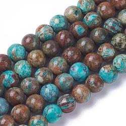 """Chapelets de perles en jaspe d'océan naturelle, teints et chauffée, rond, 6mm, trou: 0.8mm; environ 65 pcs/chapelet, 15.3~15.5"""" (39~39.4 cm)(G-F648-03-B)"""