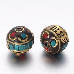 Perles Indonésiennes manuelles, avec les accessoires en alliage, rond, or, 13mm, Trou: 3mm(PALLOY-G131-48G)