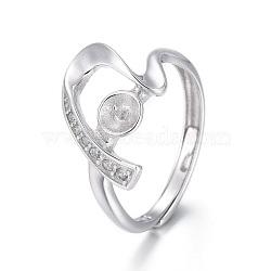 Composants de bague réglables en 925 argent sterling, pour la moitié de perles percées, avec micro ouvrent la zircone cubique, cœur, platine, taille 6, 16.5 mm; plateau: 3.5 mm; broches: 0.8 mm(STER-F048-23P)