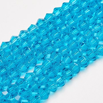 Half-Handmade Transparent Glass Beads Strands, Bicone, Dodger Blue, 4mm, Hole: 1mm, about 70pcs/strand, 10.63 inches(X-G02QC0N1)