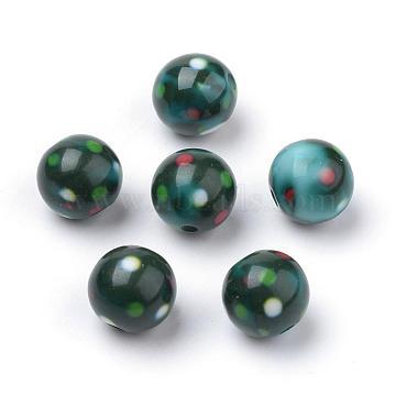 Opaque Printed Acrylic Beads, Round, DarkSlateGray, 10x9.5mm, Hole: 2mm(MACR-S271-10mm-18)