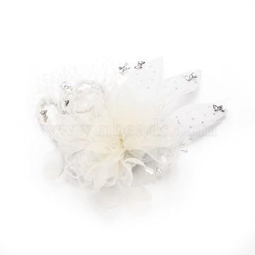 Wedding Bridal Decorative Fascinator Hair Accessories, Iron Rhinestone Alligator Hair Clips, with Cloth Flower and Feather, White, 200x230mm(PHAR-R123-05)