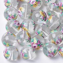 Perles de verre transparentes imprimées et peintes au pistolet, ronde avec motif de fleurs, clair, 8~8.5x7.5mm, Trou: 1.4mm(GLAA-S047-04A-06)