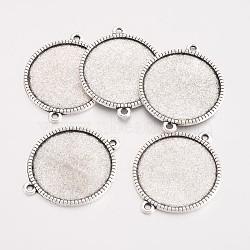 Тибетский сплав стиля параметров соединителя плоские круглые кабошон, кадмия и свинца, Старинное серебро, лоток: 25 мм; 34x27.5x2 мм, отверстия: 2 mm(X-TIBE-Q038-001G-AS-RS)