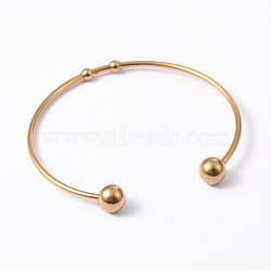 Fashion 304 Stainless Steel Cuff Bangles Torque Bangles, End with Immovable Round Beads, Golden, 50~65mm(BJEW-H473-01G)