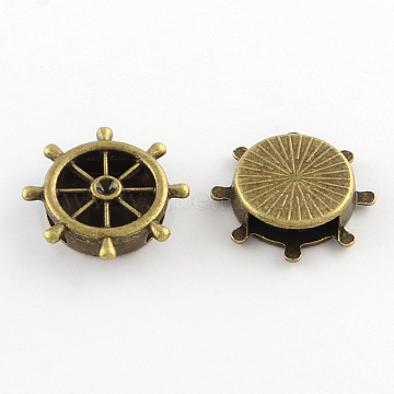Tibetan Style Helm Alloy Slide Charm Rhinestone Settings, Cadmium Free & Nickel Free & Lead Free, Antique Bronze, 21x21x5mm, Hole: 12x3mm; fit for 2.5mm rhinestone; about 386pcs/1000g(TIBEB-Q064-65AB-NR)