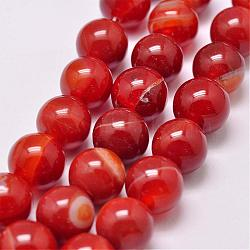 Natural Striped Agate/Banded Agate Bead Strands, Dyed & Heated, Round, Grade A, OrangeRed, 10mm, Hole: 1mm; about 39pcs/strand, 15.2inches(387mm)