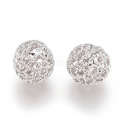 Perles filigranes creuses en laiton, rond, sans nickel, platine, 10mm, Trou: 1mm(KK-J187-31P-NF)