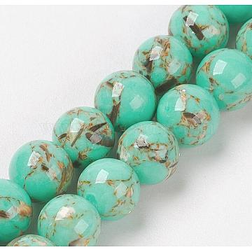Sea Shell and Synthetic Turquoise Assembled Beads Strands, Round, Medium Turquoise, 6mm, Hole: 1.2mm, about 65pcs/strand, 15.7 inches(40cm)(X-G-G758-07-6mm)