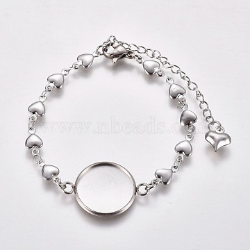 304 Stainless Steel Bracelet Making, with Lobster Claw Clasps, Heart Link Chains and Flat Round Cabochon Settings, Stainless Steel Color, Tray: 16mm; 6 inches(15.3cm)(X-STAS-L248-009P)