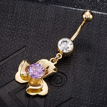 Environmental Brass Cubic Zirconia Navel Ring, Belly Rings, with Use Stainless Steel Findings, Real 18K Gold Plated, Flower, Lilac, 45x18mm, Pin: 1.5mm(AJEW-EE0004-19C)