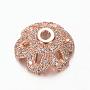 Rose Gold Clear Brass+Cubic Zirconia Bead Caps(X-ZIRC-M098-01RG-FF)