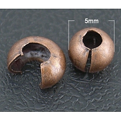 Iron Crimp Beads Covers, Red Copper Color, Size: About 5mm In Diameter, Hole: 1.5~1.8mm(X-IFIN-H030-R)