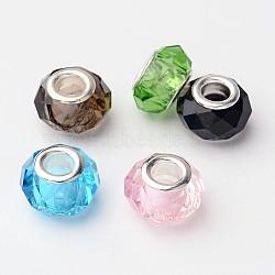 verre mixte perles européennes, avec placage doubles noyaux d'argent, facettes, grand trou perles rondelle, couleur mélangée, 14x9.5~10 mm, trou: 5 mm(X-GPDL-D009-M)