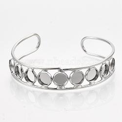 латунные манжеты браслет задатки, плоские круглые, платина, лоток: 8 мм; 2-3 / 8 (6 см)(MAK-S071-01P)