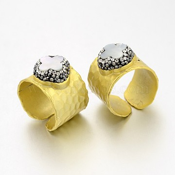 Adjustable Golden Plated Brass Shell Cuff Rings, Open Rings, with Polymer Clay Middle East Rhinestones, Seashell Color, 18~19mm, Tray: 17~18mm(RJEW-E036-03)