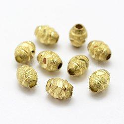 Perles en laiton texturées, sans nickel, ovale, non plaqué, 9x7mm, Trou: 3mm(KK-J270-58C)