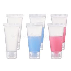20ml PE Plastic Refillable Flip Top Cap Bottles, with PP Plastic Lids, Travel Portable Squeeze Makeup Hoses, Facial Cleanser Tube, Face Cream Container, White, 8cm; Capacity: 20ml(MRMJ-WH0037-02A)
