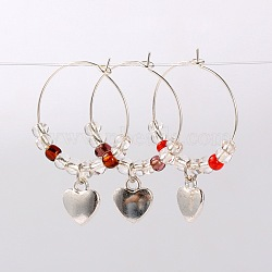 Tibetan Style Heart Wine Glass Charms, with Glass Seed Beads and Brass Hoop Earrings, Antique Silver, Mixed Color, 39mm; Pin: 0.7mm(AJEW-JO00022)