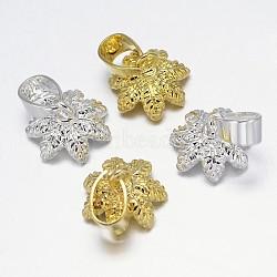 Fleur rack placage soutiens-gorge tasse perle cheville bails broches pendentifs, pour la moitié de perles percées, couleur mixte, 13x9mm, trou: 7x4 mm; broches: 1 mm(KK-L102-03)