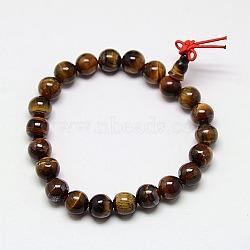 Буддийские украшения Mala бисер браслеты природного тигровый глаз стрейч браслеты, унисекс круглые драгоценный камень бисером браслеты, темно-золотые, 50x8 мм(BJEW-M007-8mm-01B)