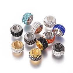 304 billes d'acier inoxydable, avec argile polymère strass, grandes perles de trou, colonne, couleur mélangée, 11x7.5 mm, trou: 6 mm(STAS-E477-09)