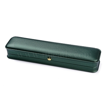 PU Leather Necklace Box, with Golden Iron Crown, for Wedding, Jewelry Storage Case, Rectangle, Dark Green, 9-3/8x2-1/4x1-1/2 inch(23.9x5.6x3.7cm)(LBOX-A002-04C)