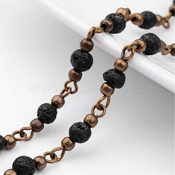 Handmade Round Lava Rock Beads Chains for Necklaces Bracelets Making, with Iron Eye Pin, Unwelded and Brass Spacer Beads, Antique Bronze, Black, 39.37 inches(1m)(AJEW-JB00244-01)