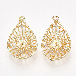 pendentifs en forme de zircon cubique en laiton, pour perle à moitié percée, déposer, effacer, véritable plaqué or, 23~24x14~15x4~5 mm, trou: 1 mm; broches: 1 mm(KK-S350-332)