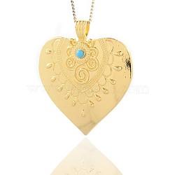 Or ton coeur alliage de résine grands pendentifs, bleu foncé, 58x51x2mm, Trou: 4x7mm(PALLOY-J375-01G)