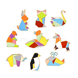 Creative Zinc Alloy Brooches, Enamel Pin, with Enamel and Iron Butterfly Clutches, Mixed Origami Animal Shape, Golden, Mixed Color, 16~26x12~29mm; Pin: 1mm; 9pcs/set(JEWB-Q031-130)