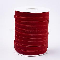 """Ruban de velours à face unique, rouge, 3/8"""" (9.5~10 mm); environ 50yards / rouleau (45.72m / rouleau)(SRIB-T004-01-16)"""