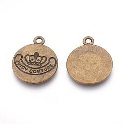 Pendentifs en alliage, plat rond, bronze antique, sans plomb et sans cadmium, 22.5x18x1.5mm, Trou: 2mm(EAAA038Y-AB)