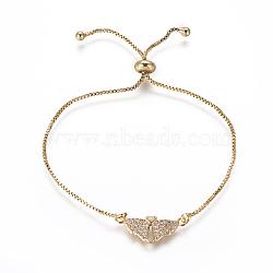 """Bracelets bolo réglables en laiton, Bracelets coulissants, chaînes de boîte, Avec de l'opale synthétique et de la zircone cubique, aile avec le coeur, or, blanc, 9-5/8"""" (24.5 cm), 1mm(BJEW-L618-04G-D)"""