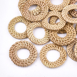 Handmade Reed Cane/Rattan Woven Linking Rings, For Making Straw Earrings and Necklaces,  Ring, BurlyWood, 37~43x4~5mm, Inner Diameter: 19~24mm(X-WOVE-T005-06A)