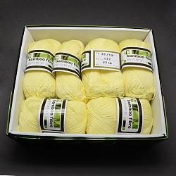 Fils mous pour bébé, avec de la fibre de bambou et de soie, jaune de champagne, 1 mm; environ 140 m/rouleau, 50 g / rouleau, 6 rouleaux / boîte(YCOR-R024-ZM017A)