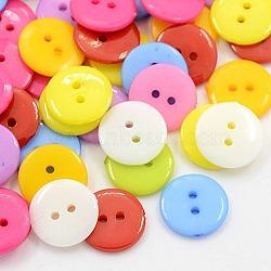 Boutons acryliques de couture, Boutons en plastique pour costumes, 2-trou, teint, plat rond, couleur mixte, 12x2mm, Trou: 1mm(X-BUTT-E084-E-M)