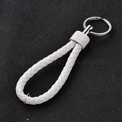 porte-clés en cuir PU tressé, avec les conclusions de fer de platine plaqué, blanc, 130 mm(KEYC-J100-05)