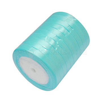 Single Face Satin Ribbon, Polyester Ribbon, Breast Cancer Pink Awareness Ribbon Making Materials, Valentines Day Gifts, Boxes Packages, Cyan, 1/2inch(12mm); about 25yards/roll(22.86m/roll), 250yards/group(228.6m/group), 10rolls/group(RC12mmY062)