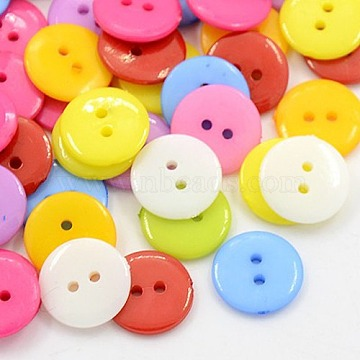 20L(12.5mm) Mixed Color Flat Round Acrylic 2-Hole Button