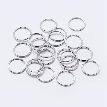 925 Sterling Silver Round Rings, Soldered Jump Rings, Platinum, 7x0.7mm; Inner Diameter: 5.5mm(STER-F036-03P-0.7x7)