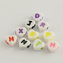 Opaque Acrylic Heart Beads, Alphabet Beads, Mixed Color, 7x7.5x4mm, Hole: 2mm; about 360pcs/50g