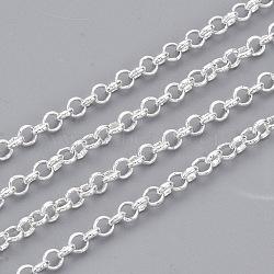 chaînes rolo en laiton soudé, avec bobine, plaqué argent, 2.4x0.8 mm(X-CHC-S008-002E-S)