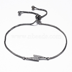 bracelets réglables en laiton à micro-pavé de zircone cubique, bracelets bolo, éclair, bronze, 10-1 / 4 (260 mm); 1.2 mm(BJEW-E317-38B)
