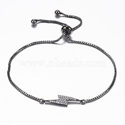 Adjustable Brass Micro Pave Cubic Zirconia Flash Slider Bracelets, Bolo Bracelets, Lightning Bolt, Gunmetal, 10-1/4inches(260mm); 1.2mm(BJEW-E317-38B)