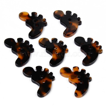 2-Hole Cellulose Acetate(Resin) Buttons, Tortoiseshell Pattern, Baby Foot Shape, Goldenrod, 29.5x24x2.5mm, Hole: 2mm(BUTT-S026-023B)
