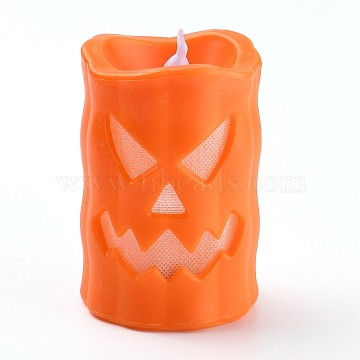 Halloween Resin LED Skull Light, Candle Tea Lights, for Halloween Party, Built-in Battery, Orange, 97x69.5x59mm(AJEW-Z004-01C)
